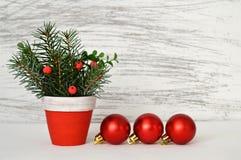 Drie rode Kerstmisballen en natuurlijke Kerstmisregeling Stock Foto's