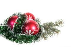 Drie rode Kerstmisballen en tak van spar. Stock Fotografie