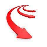 Drie rode pijlen die zich vooruit bewegen Verschillende 3d bal Stock Afbeeldingen