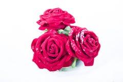 Drie rode rozen Stock Afbeelding