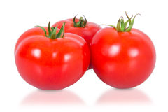 Drie rode tomaten Stock Foto's