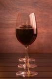 Drie rode wijnglazen Stock Foto's