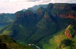 Drie rondavels, Blyde-Riviernatuurreservaat, Zuidafrikaans R Stock Foto