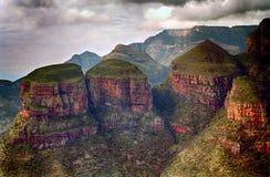 Drie rondavels, Blyde-Riviernatuurreservaat, Zuidafrikaans R Stock Afbeelding