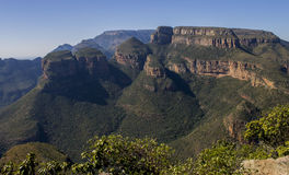 Drie Rondavels in de Blyde-Riviercanion, Mpumalanga Zuid-Afrika Royalty-vrije Stock Fotografie