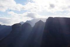 Drie Rondavels, Drakensberg-Bergen Royalty-vrije Stock Foto