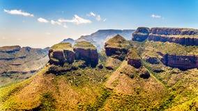 Drie Rondavels van Blyde-het Natuurreservaat van de Riviercanion Stock Foto's