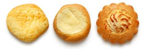 Drie ronde dessertbroodjes royalty-vrije stock foto's