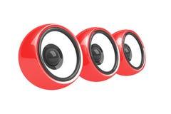 Drie rood sprekers audiosysteem Royalty-vrije Stock Fotografie