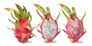 Drie roze die draakfruit op witte achtergrond wordt geïsoleerd royalty-vrije stock foto's