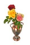 Drie rozen in vaas Royalty-vrije Stock Afbeeldingen