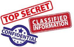 Drie rubber geheime zegelsbovenkant -, vertrouwelijk, geclassificeerd informatie stock illustratie