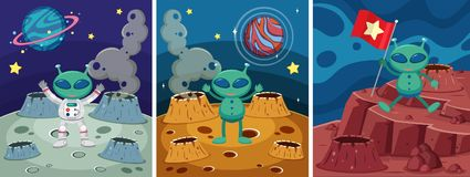 Drie ruimtescènes met vreemdeling op de vreemde planeet royalty-vrije illustratie