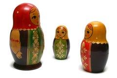 Drie Russische poppen stock fotografie