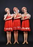 Drie Russische schoonheden Royalty-vrije Stock Afbeeldingen