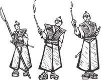 Drie Samoeraien Royalty-vrije Stock Afbeeldingen
