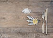 Drie sardines, zout en vork met mes Royalty-vrije Stock Foto's