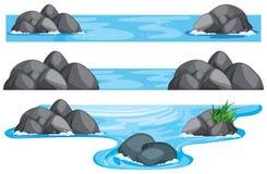 Drie scènes van rivier en meer stock illustratie