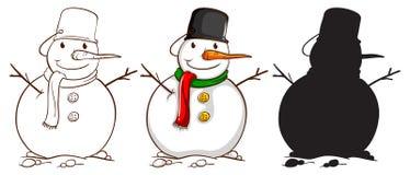 Drie schetsen van een sneeuwman Royalty-vrije Stock Foto