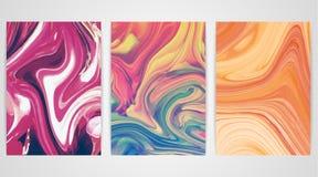 Drie schilderijen met marmering Marmeren textuur De plons van de verf Kleurrijke vloeistof vector illustratie