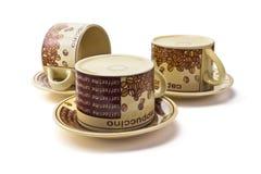 Drie schone koffiekoppen Stock Fotografie