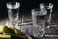 Drie schoten met wodka en ingelegde komkommers royalty-vrije stock foto's