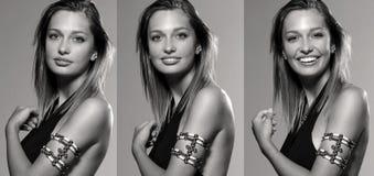 Drie schoten van mooie vrouw Royalty-vrije Stock Afbeelding