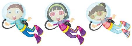 Drie scuba-duikers Royalty-vrije Stock Foto's