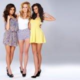 Drie sexy elegante jonge vrouwen op de zomermanier royalty-vrije stock foto