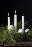 Drie siert Witte Kaarsenkerstmis 2 royalty-vrije stock fotografie