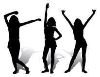Drie silhouet gelukkig meisje, vector Royalty-vrije Stock Fotografie