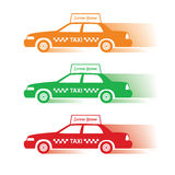 Drie silhouetmachine voor taxi Stock Foto