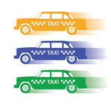 Drie silhouetmachine voor taxi Stock Foto's