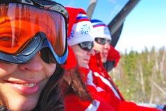 Drie skiërs Stock Afbeelding