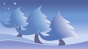 Drie sneeuwbomen royalty-vrije illustratie