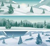 Drie sneeuwlandschappenbanner met wilde aard, bergen en sneeuwbomen De vakantie van de winter Vector stock illustratie