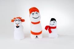 Drie sneeuwmannen stock afbeelding