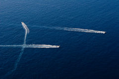 Drie snelle motorboot in Stock Foto