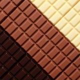 Drie soorten chocolade Stock Afbeeldingen