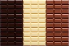 Drie soorten chocolade Stock Foto's
