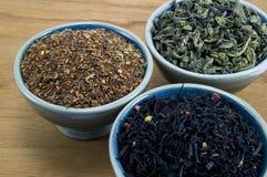 Drie soorten thee Royalty-vrije Stock Foto's