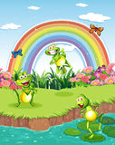 Drie speelse kikkers bij de vijver en een regenboog in de hemel royalty-vrije illustratie