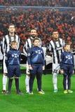 Drie spelers bij Juventus de Arena van stalioneDonbass royalty-vrije stock afbeelding