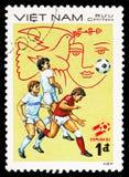 Drie spelers, serie van het kampioenschapsespana '82 van de Wereldbekervoetbal, circa 1982 royalty-vrije stock fotografie