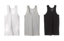 Drie sportmouwloos onderhemden Stock Afbeelding
