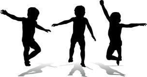 Drie springende kinderen, vector stock foto's