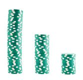 Drie stapels casinospaanders Stock Foto