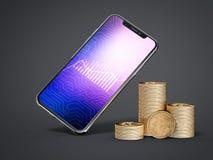 Drie stapels van bitcoins en smartphone het 3d teruggeven royalty-vrije illustratie
