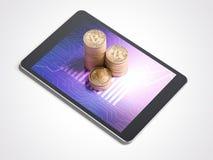 Drie stapels van bitcoins en tabletpc het 3d teruggeven Stock Foto