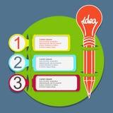 Drie stappen infographic malplaatje met potlood Royalty-vrije Stock Foto's